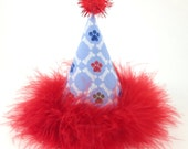 Dog Birthday Hat, Dog Party Hat, Paws and Bones, Red and Blue