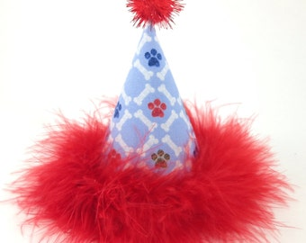 Red and Blue Dog Paws with Bones Party Hat