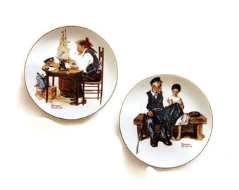 Pair Norman Rockwell Plates -  Lighthouse Keepers Daughter and Good Boy- Limited Edition-