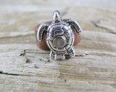 Leather Ring,  Distressed Ring,  Leather Charm Turtle  Ring