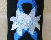 Cancer Awareness - Bottle Cozy - Cancer Ribbon with White Flower