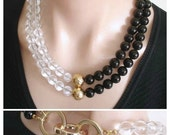 RESERVED FOR CS:  Statement Necklace Ashira Black Onyx, Rock Crystal 24k Gold Vermeil Focal Beads Trendy Fashion