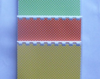 Three Spring Colorful Polka Dots Yellow, Red, Green Blank Recipe Books