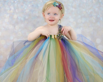 Flower Girl Tutu Dress--Toddler Tulle Dress--Circus du Solei--Only 2 Available