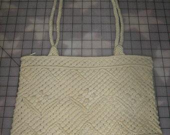 Handmade Beige Macrame Over The Shoulder Handbag