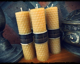 ONE Frankincense and Myrrh Resin Rolled Beeswax Mini Pillar Ritual Candle Purification Meditation