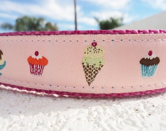 "Girl Dog Collar Pink Sweets 1"" wide adjustable side release buckle -  no martingale - see mint listing within"