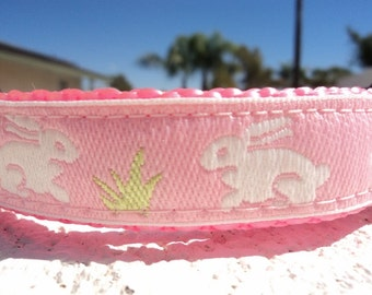 """Sale Small Girl Dog Collar Pink Bunny 3/4"""" wide side release buckle adjustable - very limited ribbon"""