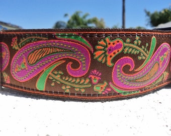 """Sale Large Dog Collar Violet Paisley 1.5"""" width side release buckle Sale  -  martingale style is cost upgrade"""