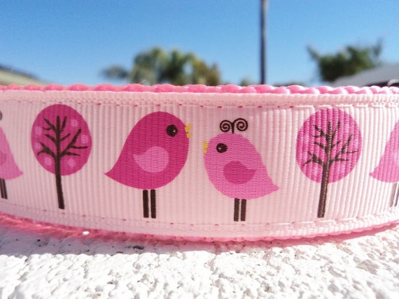 """Sale Dog Collar Pink Love Birds 1"""" Side Release adjustable buckle - martingale style is cost upgrade"""