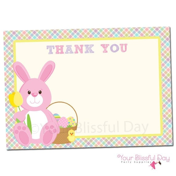 easter bunny printable egg hunt thank you cards  character