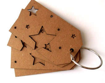 Star Peek-a-Boo Chipboard Book for scrapbooking, altered art, mixed media, tags, canvases, mini albums, journals and more.
