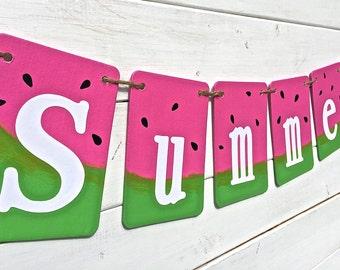 SUMMER Banner, summer photo prop, Watermelon banner, summer party, pool party, end of school party, summer picnic, pink and green