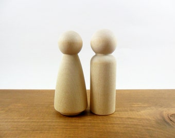 Wood Peg Doll People Large Man Woman Bride Groom Wedding Cake Topper - Set of 2