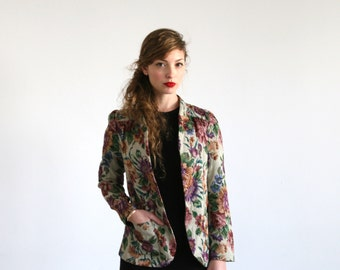 Clearance SALE/ Women jacket  /Floral Tapestry Jacket /french  Floral Blazer / Embroidery coat/  Bohemian jacket