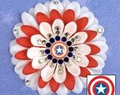 Captain America Shield-inspired White and Red Penny Blossom Sparkly Flower Barrette