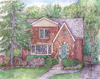 HousePortraits in Pen&ink and Watercolor, Original Painting, Custom Watercolor ,Pen and Ink House Renderings,Illustration, Heirloom