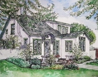 House Portrait of Your Home in Pen&Ink or Watercolor