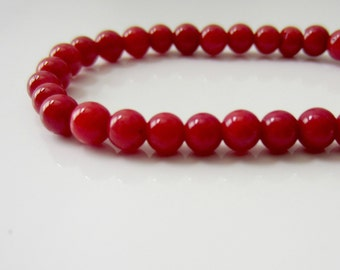 Coral Beads, Coral Rounds, Round Coral Beads, Red Coral Rounds, Red Bamboo Coral Strand, Round Coral Beads 4mm - Full Strand