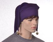 Three Point Jester Hat Dark Purple with Gold Bells 3 Tail Harlequin Fool Cap Lightweight Party Hat Adult Men Womens Mardi Gras Carnival