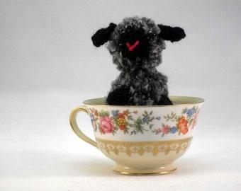 Hand Knit Back and Gray Plush Sheep Lamb Ready To Ship