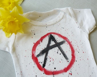 Anarchy Symbol Hand-Painted Baby Onesie/ Bodysuit