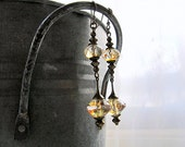 Long Drop Bohemian Earrings Vintage Vibe Jewelry Elegant Style Chic Boho Dangly Earrings Neutral Color Sparkly Glass Beads Wear Everyday