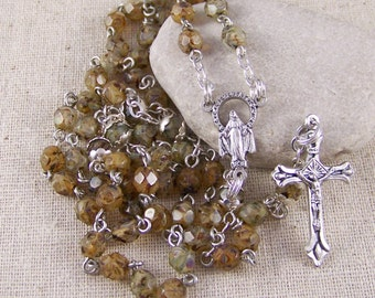 Catholic rosary with faceted two tone brown picasso beads in silver