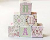 Wooden Decorative Blocks floral princess