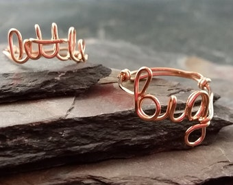 14K Rose Gold Filled Sorority Big and Little Sister Rings, Personalized