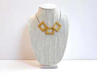 Yellow Wood Necklace, Geometric Modern Wooden Beads with silver Chain and Lobster Clasp