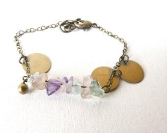 Bracelet fluorite medals brass ( womens, aura ) 01