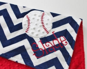 Personalized BASEBALL Sports DOUBLE MINKY Baseball Applique Blanket or Lovey with Name Red White Blue