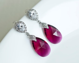 Ruby Earrings, Fuchsia Bridesmaids Earrings, Ruby Swarovski Teardrop Earrings, Dangle Bridesmaids Earrings,  Swarovski Crystal Ruby Earrings