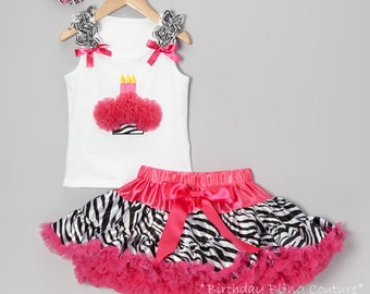 Girls Birthday Hot Pink & Zebra Cupcake 3 Candles Pettiskirt Set - Matching Flower Bow Included