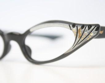 Unused  Black SIlver Rhinestone Cat Eye Glasses Cateye Frames Vintage Eyewear 1960s Eyeglasses New Old Stock