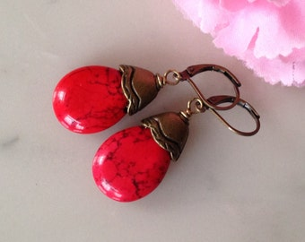 Drop red earrings, bright, red turquoise, natural gemstone, handmade, vintage style, brass, lever back