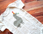 Party Llama Onesie (Gray with Yellow Polkadots on Orange Party Hat) - 12-18M Baby Bodysuit