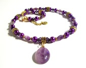 Genuine Amethyst Oval Pendant Necklace Set, Purple Pearl, 2 Piece Set, Amethyst Gemstone, Statement Necklace