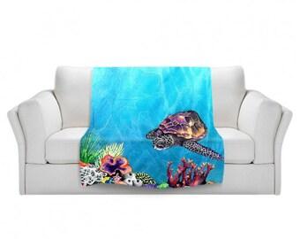 Fleece Blanket - Sea Turtle Watercolor Painting - Home Decor Cozy Living Room