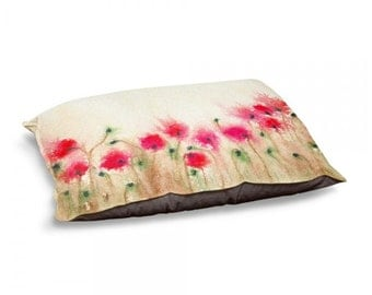 Designer Dog Bed  - Floral Poppies Watercolor Painting - Fleece Cotton Cover