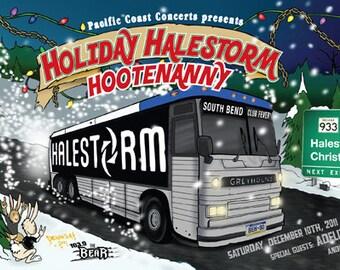 Halestorm Adelita's Way Black Tide rock Gig Poster, limited, signed and numbered Live at Club Fever South Bend Indiana,December 10, 2011
