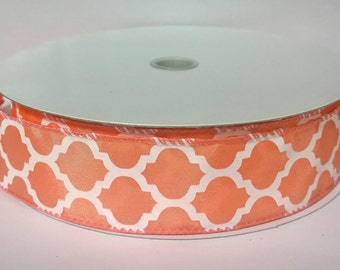 """1.5"""" Coral White Satin Wired Ribbon (Quatrefoil Pattern) 5 Yards or 10 Yard Lengths Available, Ribbon for bows, Ribbon for Wreaths"""