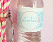 20 melted snowman water bottle stickers, ice princess party water bottle stickers, blue glitter water bottle labels