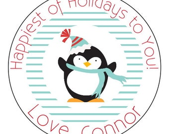 penguin holiday stickers, personalized holiday stickers, blue striped christmas stickers, winter labels
