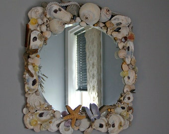 Coastal Shores ... Gorgeous Beveled Mirror with Seashells, pearls, starfish, driftwood, and sea glass