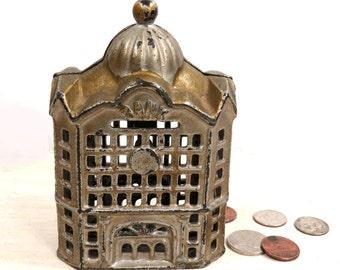 Antique Cast Iron Bank Building, J. & E. Stevens Co, Gold Architectural Bank, Cast Iron Collectible