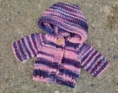 "Hand knit hoodie, fits 10"" Waldorf doll"