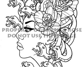 Digital Download Print Your Own Coloring Book Outline Page - Medusa Traditional Tattoo Flash Art Design by Carissa Rose