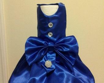 Stunning! Royal Blue Satin Doggie Dress